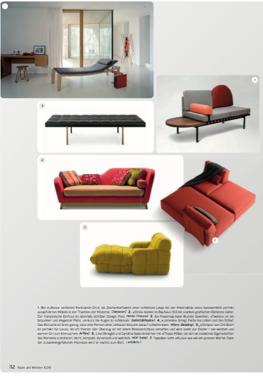 Raum und wohnen Swiss _ sofa and sofa bed Jeremie Fashion design Eric Berthes.