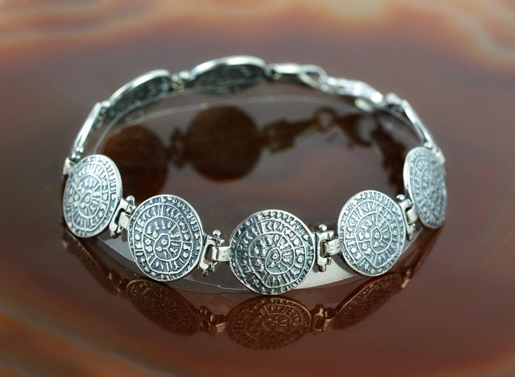 Phaistos Disc silver bracelet, antique bracelet, Phaistos Disc bracelet, ancient bracelet, Phaistos bracelet, greek bracelet, Phaistos Disc by GreekGoddessJewelry on Etsy