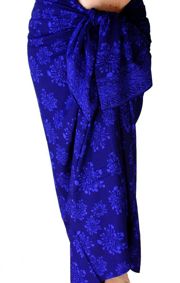 Indigo Beach Sarong Wrap Skirt - Women's Clothing Long Batik Skirt Beach Cover Up Deep Indigo Batik Pareo - Spa Wrap Dress Women's Beachwear by PuaWear on Etsy