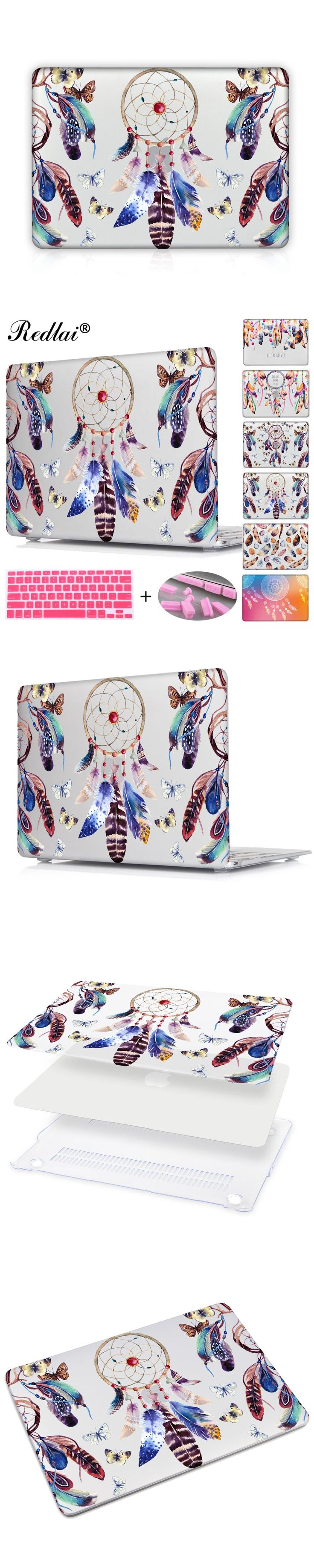 Luxury Feathers Set Dream Catcher Laptop Bag For Macbook Pro 13 Retina 12 15 Cover Clear Hard Cover For Macbook Air 11 13 Case