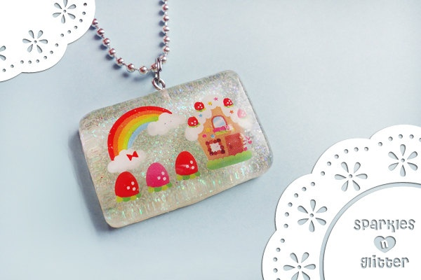 Strawberry House Pendant  Made with Resin and Glitter