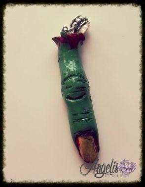 Handmade Polymer Clay Severed Zombie Finger Pendant
