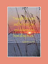 """New in the New Christian Books Online Store -- A Psalm 34:4 Scripture poster you can use as you pray against fear. The verse reads: """"I sought the Lord, and he heard me, and delivered me from all my fears."""" KJ/AV   http://www.newchristianbooksonlinemagazine.com/store/products/psalm-34-scripture-poster-version-a/"""