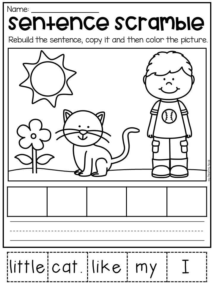 Sentence Scramble Worksheets Kindergarten Literacy Centers Distance Learning Literacy Centers Kindergarten Kindergarten Literacy Kindergarten Worksheets