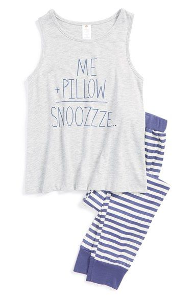 Free shipping and returns on Tucker + Tate 'Me + Pillow = Snoozzze' Two-Piece Pajamas (Little Girls & Big Girls) at Nordstrom.com. Striped, elastic-waist pants pair with a heathered sleeveless top for a bedtime ensemble that's irresistibly cute and comfy.