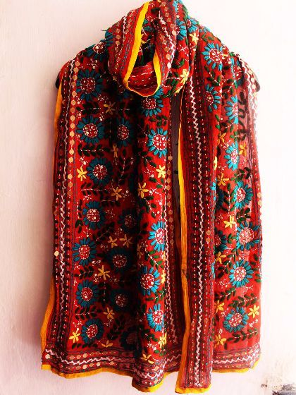 Buy Now #Handembroidered #red #phulkari #stole #phulkariscarf #threadwork