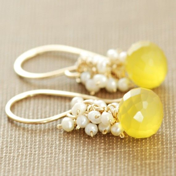 Yellow Gemstone Pearl Earrings in 14k Gold Fill, Chalcedony Seed Pearl, Lemon Meringue Pie