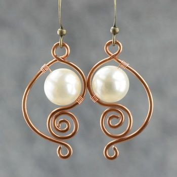 White Pearl Earrings Female Br Handmade Earring Fashion Unique Diy Copper Wire Jewelry