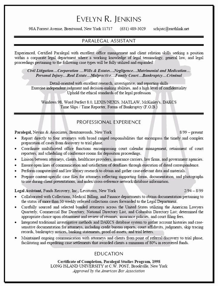 Entry Level Paralegal Resume Luxury Pin Oleh Jobresume Di