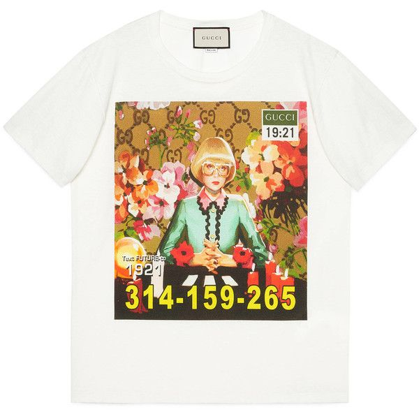 72754f5c9 Gucci Ignasi Monreal Print T-Shirt (25,855 THB) ❤ liked on Polyvore  featuring tops, t-shirts, ivory, digital print t shirts, ivory t shirt,  oversized white ...