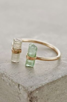 Mint green tourmaline, clear tourmaline and 14k gold fill Nebula Ring by Jené DeSpain for Anthropologie