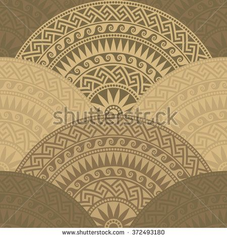 Traditional  seamless vintage brown fan shaped ornate elements with Greek patterns, Meander