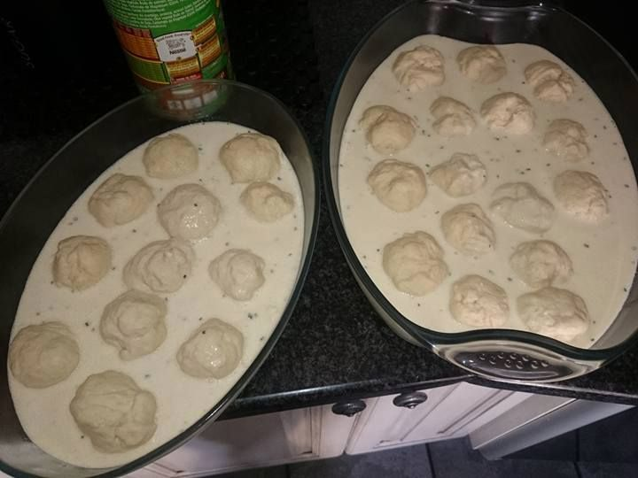 "**Ultimate ""Braai Broodjies""** 1 x pkt bread dough. 2 x pkt Potato Bake. 250ml cream. 400g grated cheddar cheese. 200g powdered biltong. 1 x chopped onion. 250ml milk *** Roll the dough into balls and place in baking dish. Mix potato bake, cream, milk, onion and biltong together in jug.  pour the mixture over the dough balls. sprinkle with cheddar cheese.  bake for 25 minutes on 150 degrees. SERVE WITH YOUR BRAAI MEAT...."