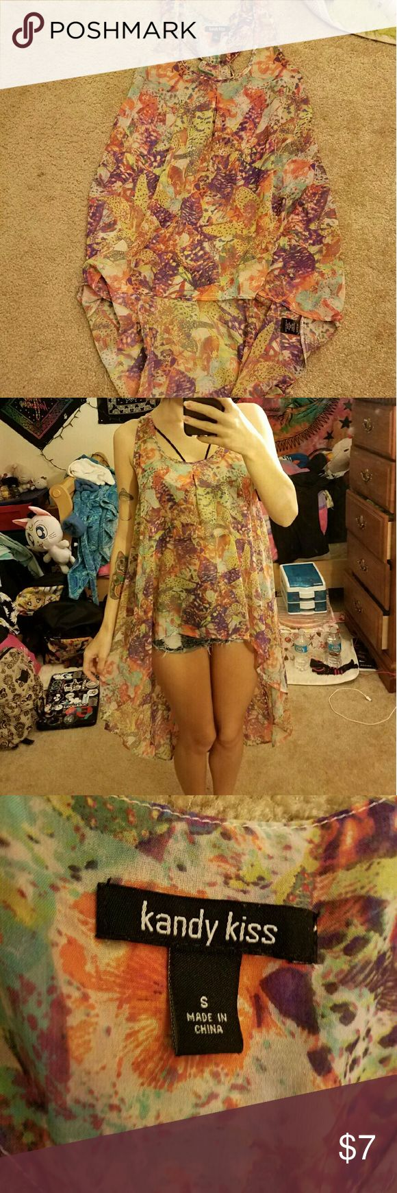 Multi-colored High Low Shirt Abstract color design, with a tank top/dress feel to it. Kandy Kiss Tops
