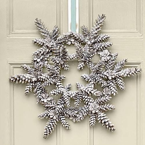 White snowflake pine cone wreath