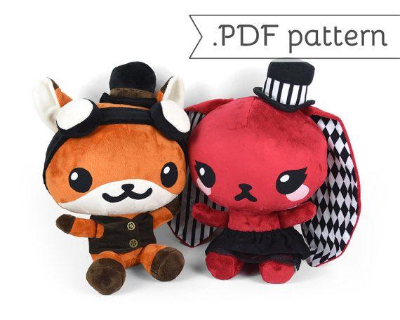 Chibi Steampunk Animal Plush Sewing Pattern .pdf Tutorial Rabbit Panda Fox Wolf Cat by CholyKnight