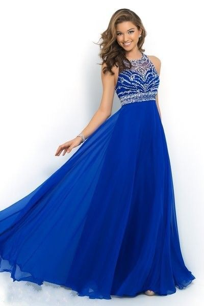 Ulass Elegant Royal Blue Chiffon A-Line Prom Dress 2015 Halter Bandage Backless Sparkly Beading Long Prom Dress New