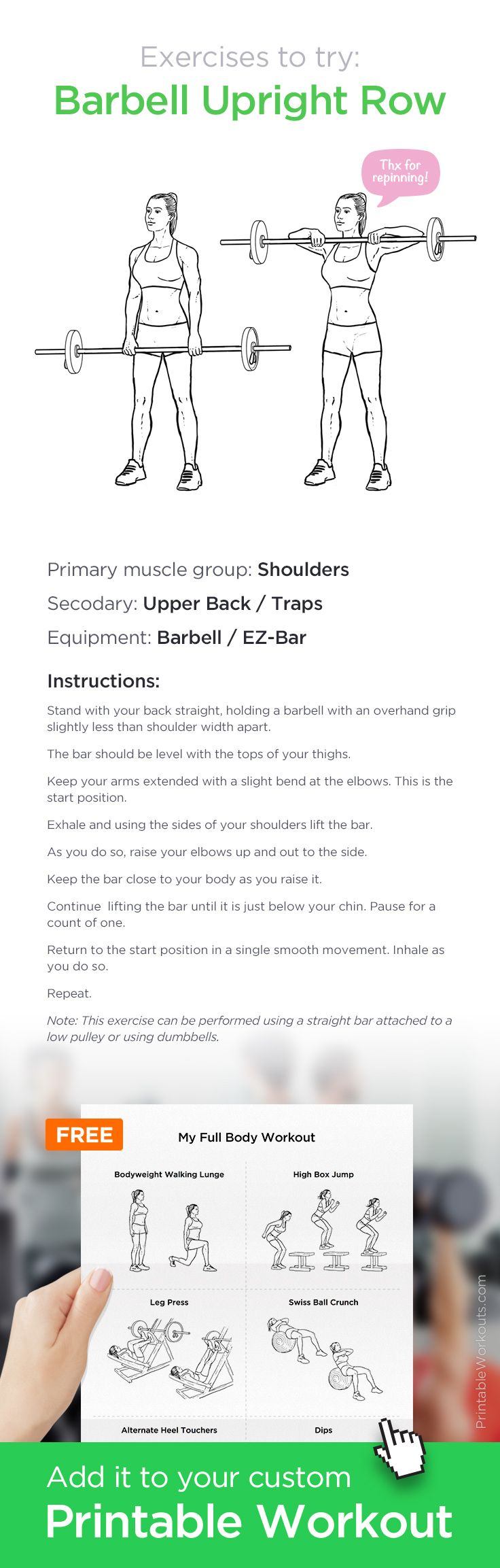 Barbell Upright Row – work your shoulders and upper back with this simple barbell exercise! ✸ Add it to your custom printable workout at http://WorkoutLabs.com!