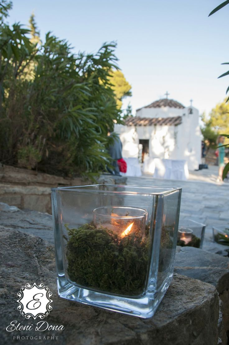 Detail from wedding decoration. Wedding photography. Orthodox wedding in Santorini, Greece.