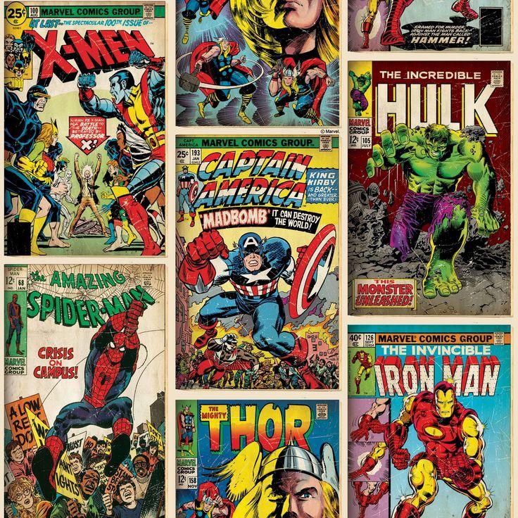Marvel-Comics-Tapete-Und-Grenzen-Spiderman-Hulk-Mehr-Jungen-Schlafzimmer