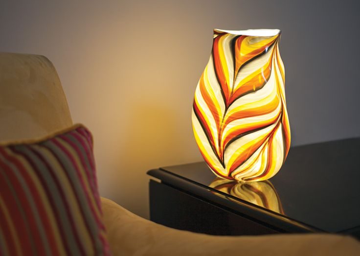 Handmade glass lamps by mdina glass in a wide range of colour combinations lighting