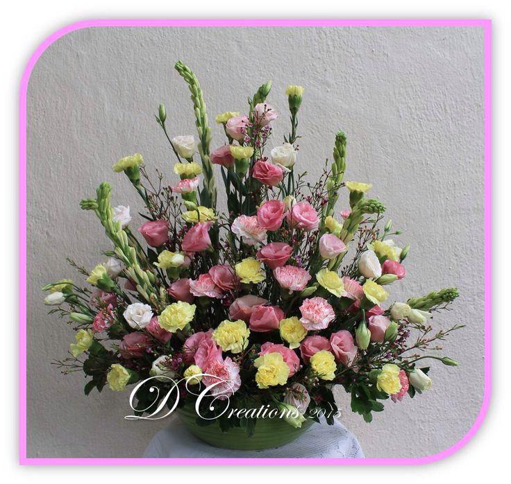 Yellow carnations & pink eustomas