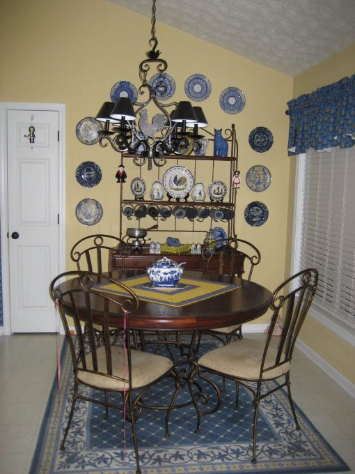 french country blue and yellow dining room   French country theme More plates Im