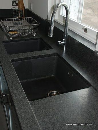 Granite worktops in the North East. Granite type Impala Satinato (leather finish). twin sink with a double sloping drainer