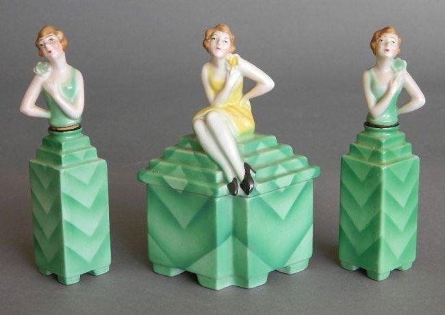 3 Piece Art Deco Bavarian porcelain perfume set