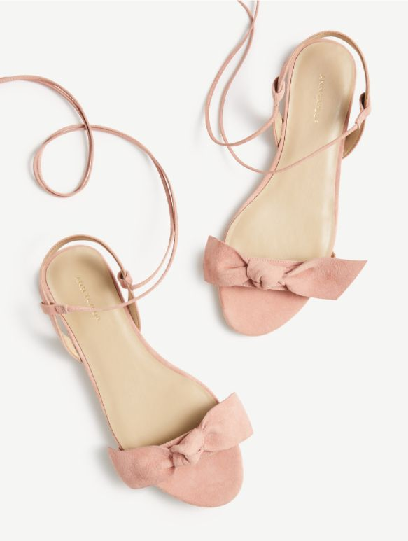Lace Up Bow Flat Sandals