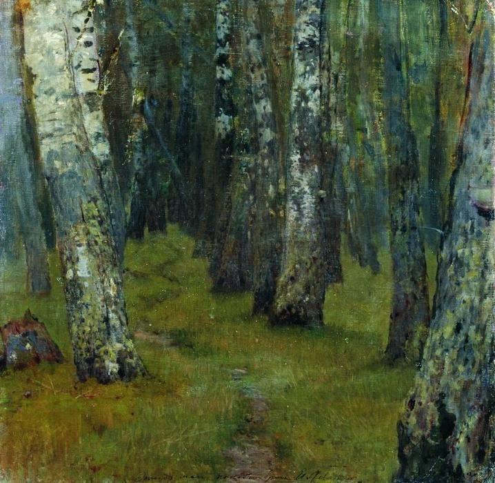 Bouleaux. Lisière de la forêt., 1885 de Isaac Levitan (1860-1900, Lithuania)