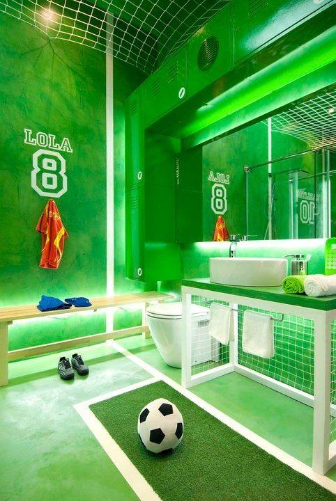 a soccer bathroom