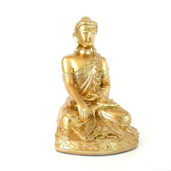 gold buddha statue thai home decor zen buddhist metallic decor spiritual statues fairies. Black Bedroom Furniture Sets. Home Design Ideas