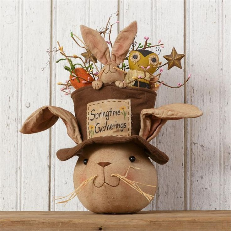 """New Primitive Folk Art SPRING GATHERINGS Bunny Head Carrot Chick Easter Doll 15"""" #Country"""