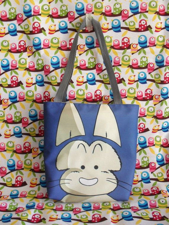 This cute mini tote bag features Puar from Dragon Ball and has a beautiful lining with polkadots. Its handmade by me, and can be washed and the pattern