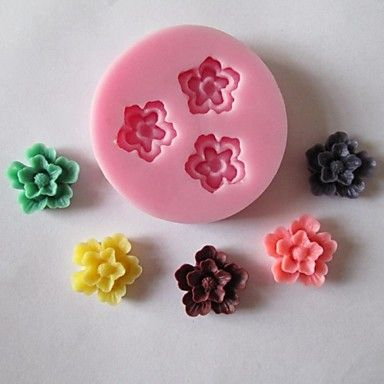 trois fleurs gâteau de bicarbonate de bonbons au chocolat fondant moule, l5cm * * w5cm h1.2cm – USD $ 1.99
