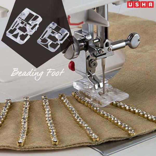 A Beading foot can be used to sew on string, beads and pearls without any tedious effort.