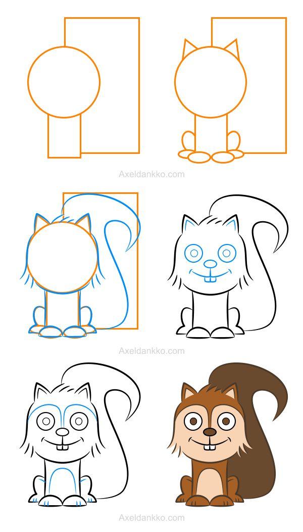How to draw a squirrel - Comment dessiner un écureuil