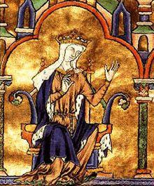 Blanche de Castille, détail d'une miniature de la Bible moralisée de Tolède, 1240.- Reine de France (Palencia 1188- Maubuisson 1252), princesse castillane, elle épouse en 1200 le roi de France Louis VIII et gouverne la France après la mort de ce dernier (1226), en qualité de régente pendant la minorité de Louis IX au cours de laquelle elle réprime un complot de grands seigneurs.