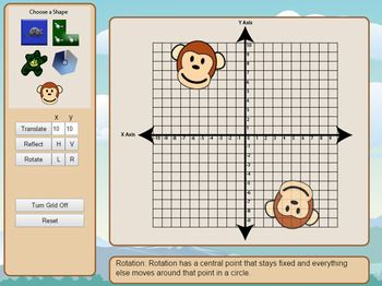 This app allows students to interact with the concepts of translation, reflection and rotation. Images can be placed on a cartesian plane and translated, reflected or rotated with a few clicks. It is designed to be used on an interactive white board with either markers, keyboard or mouse. Get it in my TPT store. Created by The Cool Classroom.