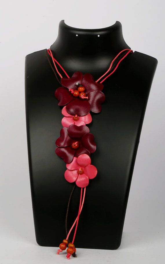 Beautiful Leather flower Necklace/ Purse Charm with by LeatherAX