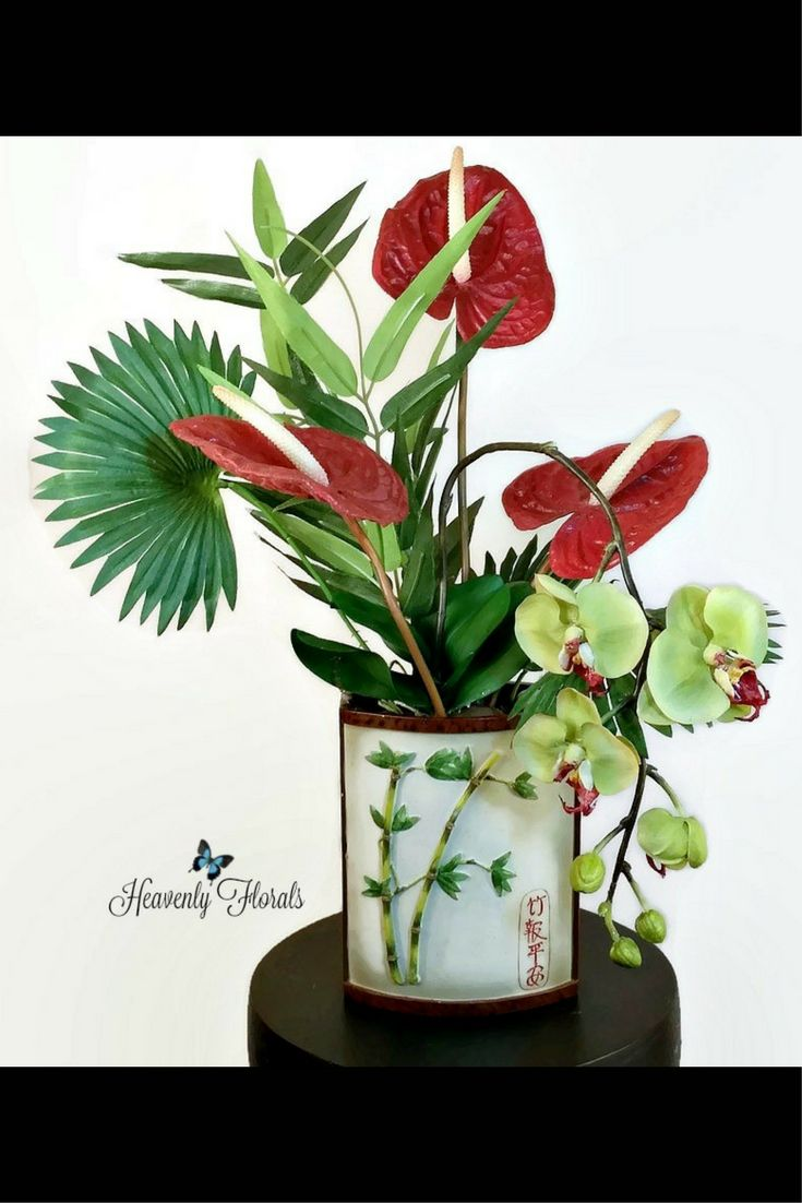 Eye-catching tropical arrangement in a modern floral design.