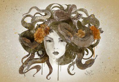 Would make an awesome Medusa Tattoo on shoulder blade---Medusa Art Print