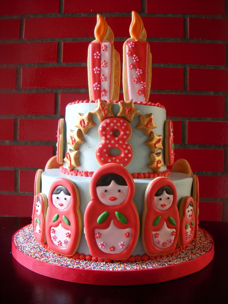 Matryoshka doll cake. Nesting doll cake. Russian doll cake. VERY CUTE! I could do this with kokeshi dolls, too.