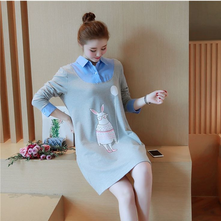 32.00$  Buy now - http://ali02c.shopchina.info/go.php?t=32806280633 - The latest model of pregnant women with cotton false two skirt skirt length of the spring and autumn dress sweet maternity dress 32.00$ #buychinaproducts