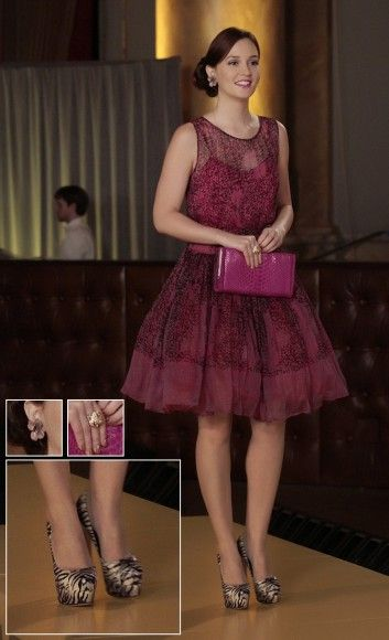 Blair's pink dress with zebra print shoes on Gossip Girl season 6.  Outfit Details: http://wornontv.net/5773/ #GossipGirl