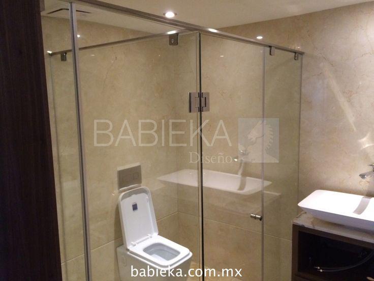 Cancel de baño con Cristal Templado y acero inoxidable.  www.babieka.com.mx