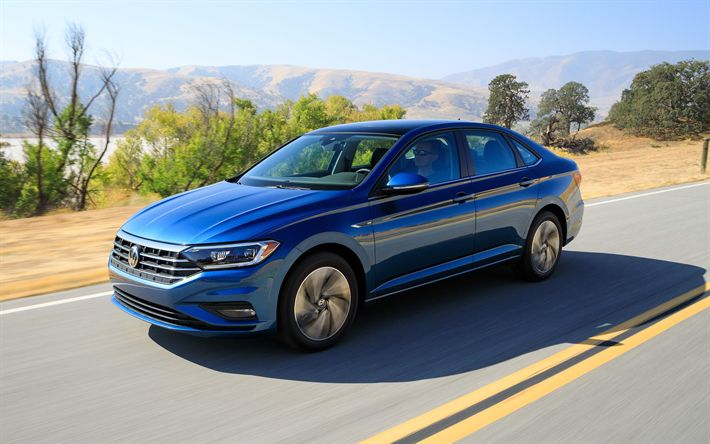 Download wallpapers Volkswagen Jetta, 2019, 4k, blue sedan, new blue Jetta, German cars, Volkswagen