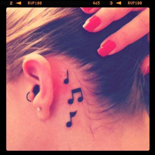 Behind The Ear Tattoo Music Notes I Want It Tattooo Tattoos