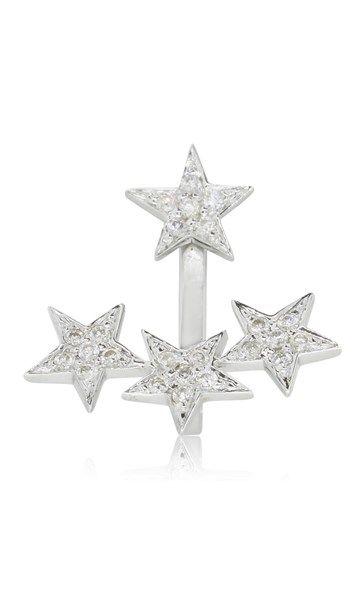 9ct white gold diamond star ear jacket - single earring